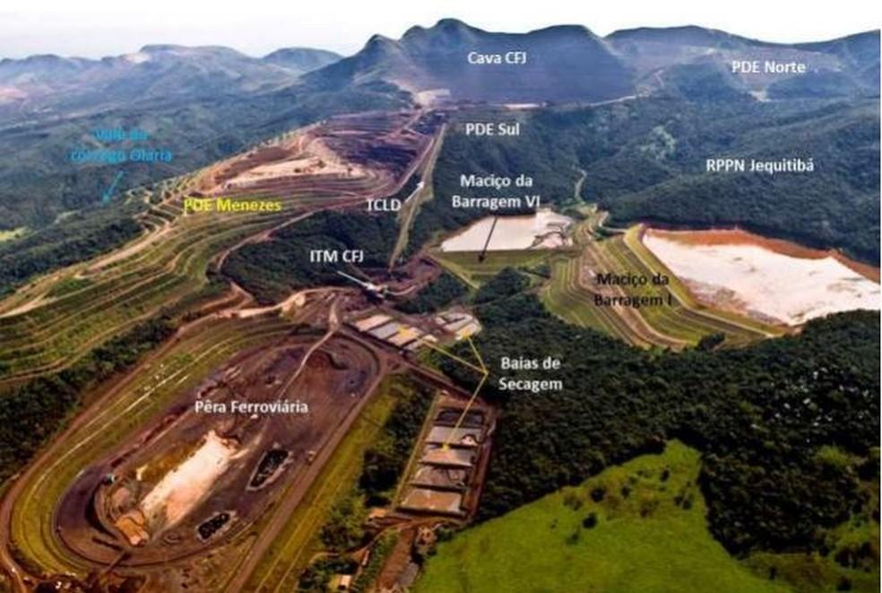 Imagem de arquivo mostra localização das barragens da Vale no Córrego do Feijão, em Brumadinho (MG) — Foto: Reprodução