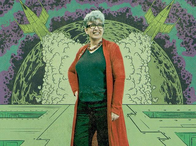 Ann Leckie é uma escritora americana de 52 anos e autora do livro de ficção-científica Justiça Ancilar (Foto: Ilustração de Marcos de Lima Junior sobre foto de Will Ireland/SFX Magazine via Getty Images)
