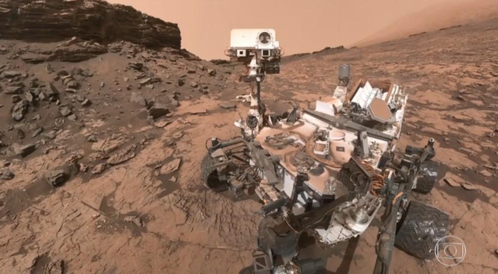 Por enquanto, apenas missões não tripuladas já chegaram a Marte — Foto: Jornal Nacional / TV Globo