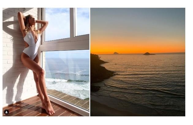 Isabella Santoni faz pose e mostra a vista de seu apartamento no Rio (Foto: Reprodução)