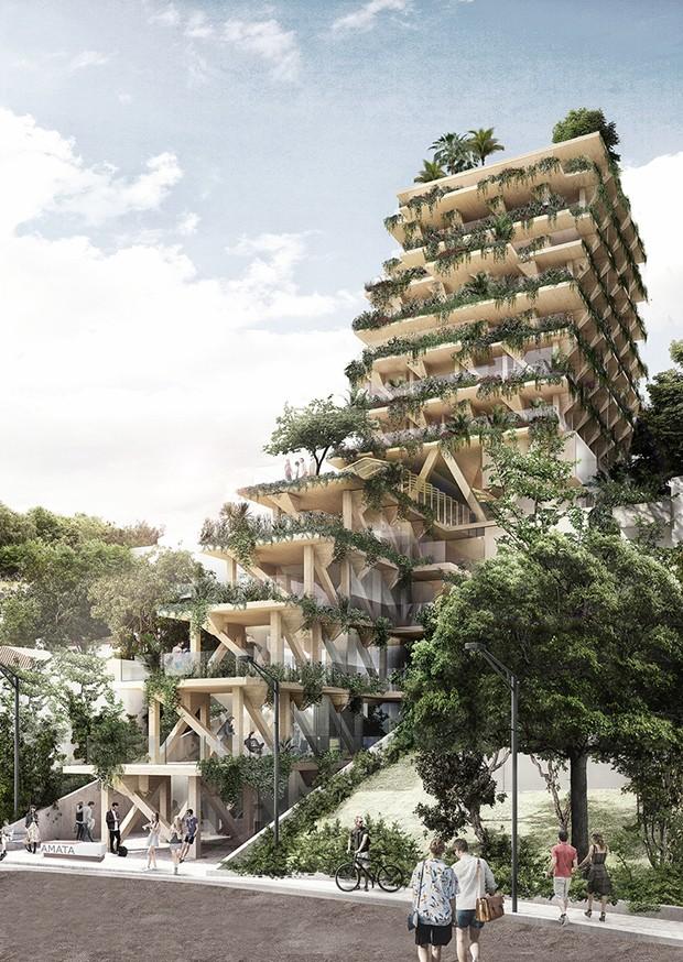 Projeto do edifício AMATA, primeiro feito de madeira no Brasil (Foto: Divulgação)