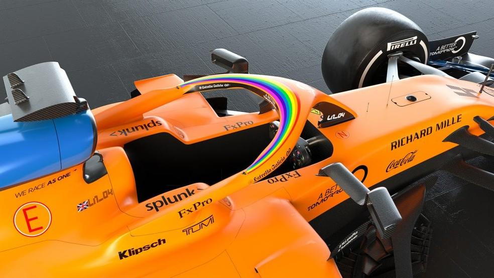 Carro da McLaren com arco-íris colocado no halo acima do cockpit — Foto: Divulgação