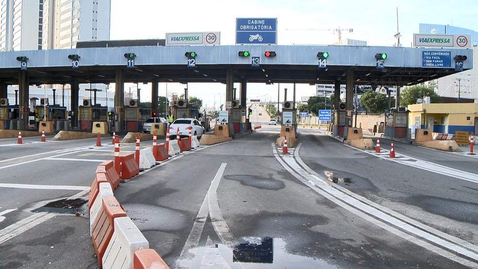 Pedágio da Terceira Ponte — Foto: Ari Melo/ TV Gazeta