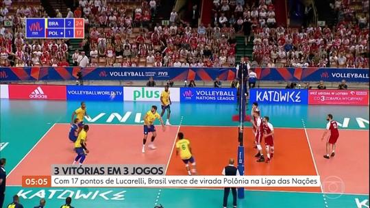 Com 17 pontos de Lucarelli, Brasil vence a Polônia na Liga das Nações