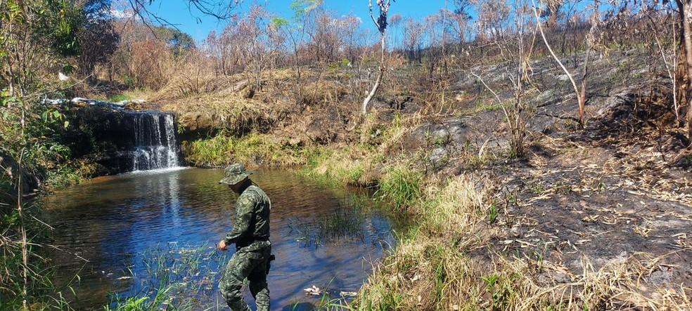 Queimada provocada por dono de propriedade rural atingiu outras seis propriedades em Garça  — Foto: Polícia Militar Ambiental/ Divulgação