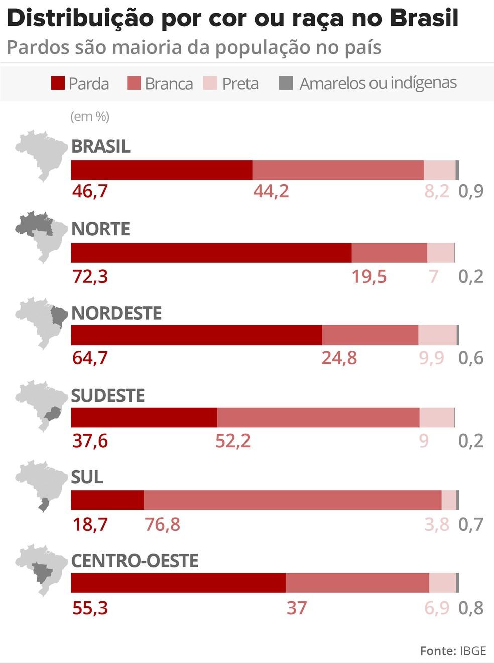 Infográfico mostra distribuição por cor ou raça nas regiões do Brasil (Foto: Arte/G1)