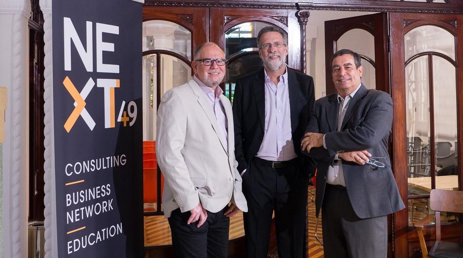 Ismael Rocha, Luiz Fernando D. Garcia e Maurício Turra, da NEXTT 49+. Foto: Divulgação.