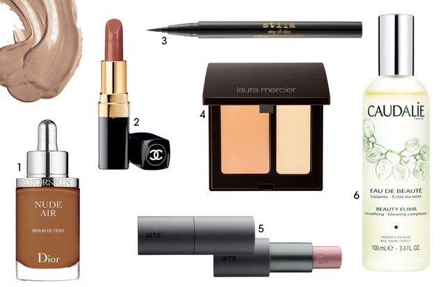 1. Diorskin Nude Air Serum Foundation, $53 2. Chanel Rouge Coco Ultra Hydrating Lip Colour, $38 3 . Stila Stay All Day Waterproof Liquid Eye Liner, $22 4. Laura Mercier Secret Camouflage Concealer, $35 5. Bite Beauty Multistick, $24 6. Caudalie Beauty Eli (Foto: Reprodução)
