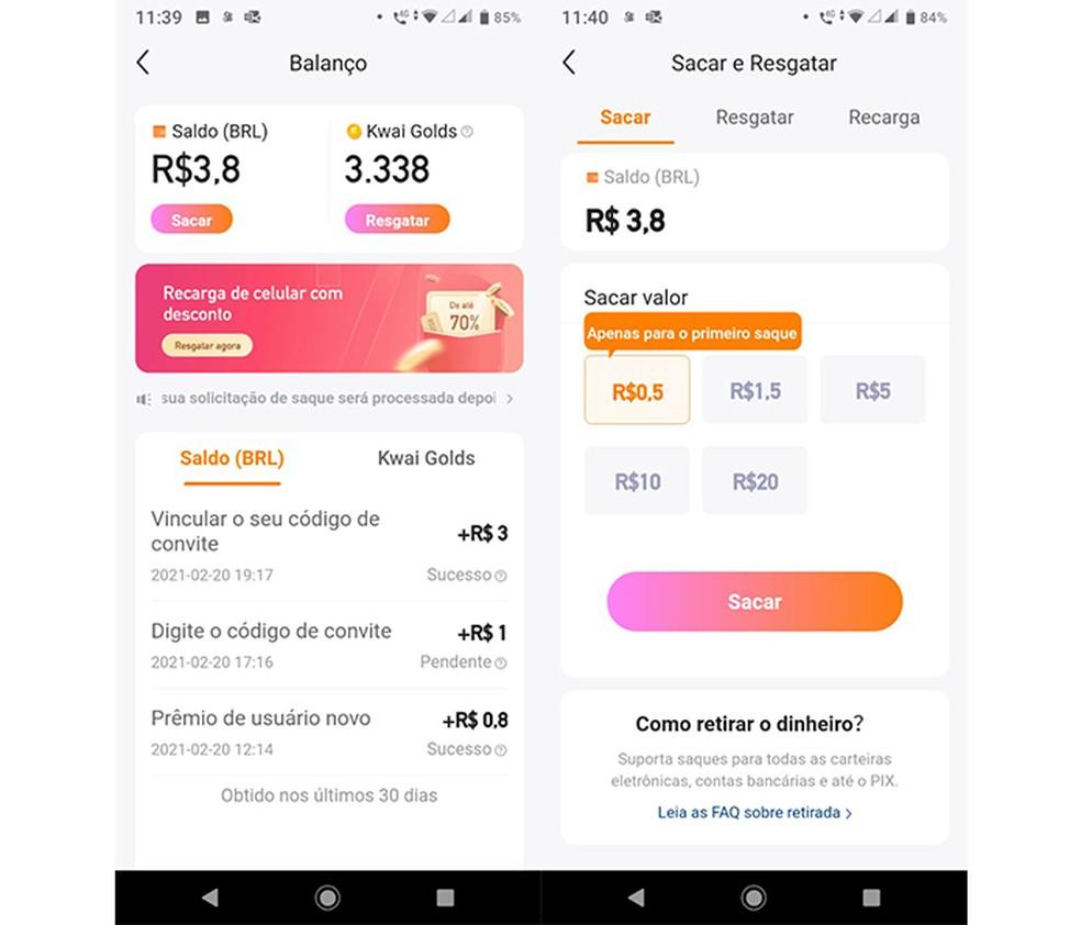Como receber dinheiro do Kwai: é possível fazer Pix ou transferência bancária nos valores permitidos pelo app  — Foto: Reprodução/Marcela Franco