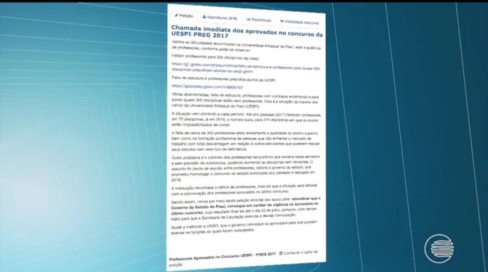 Petição na internet pede assinaturas para chamar atenção de autoridades para o problema (Foto: Reprodução TV Clube)