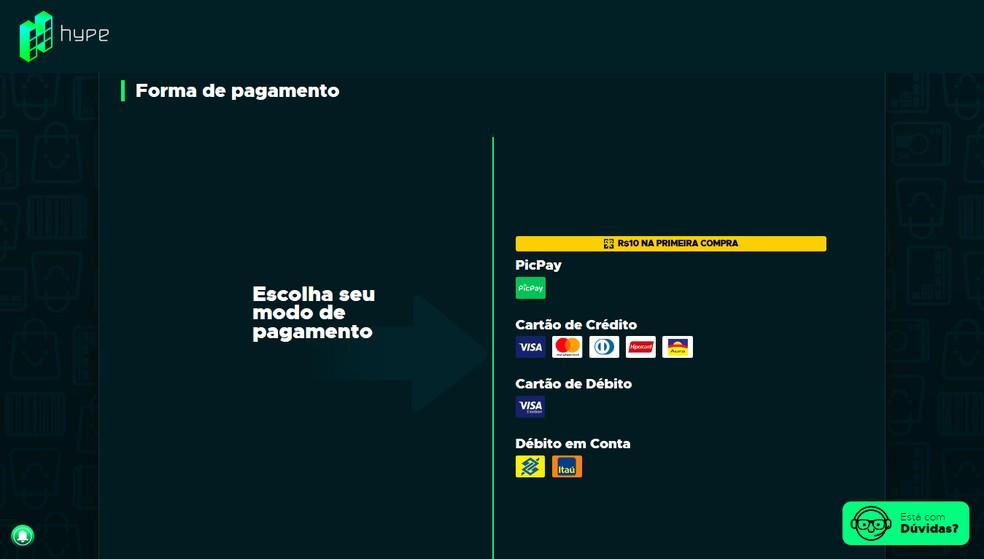 Choose the payment method: PicPay, credit card, debit card or account debit - Photo: Reproduction / Leandro Eduardo