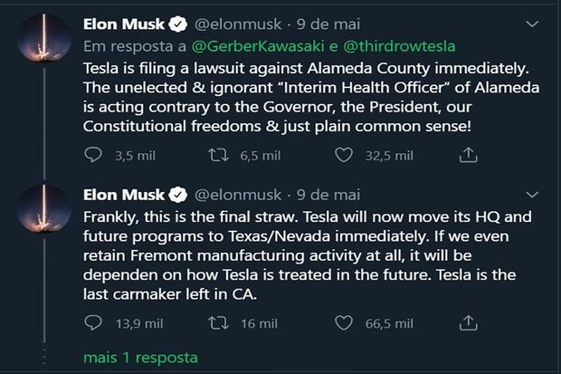 Elon Musk chegou a ameaçar retirar a fábrica da cidade de Fremont, no condado de Alameda, na Califórnia (Foto: Twitter)