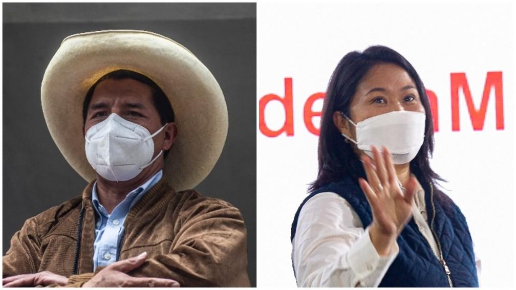 O esquerdista Pedro Castillo e a direitista Keiko Fujimori disputaram o segundo turno da eleição presidencial no Peru — Foto: Ernesto Benevides/AFP e Gian Masko/AFP
