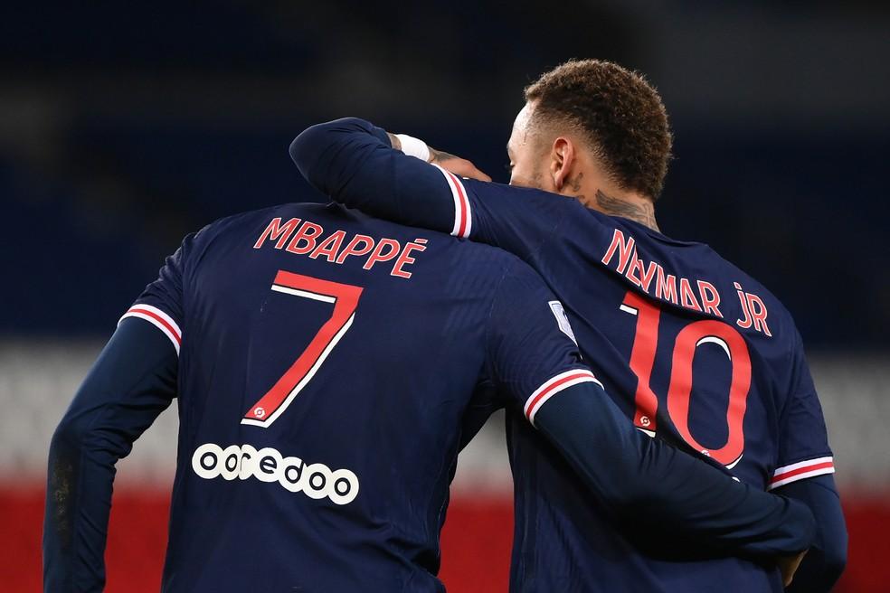 Neymar Mbappé PSG — Foto: Franck Fife/AFP
