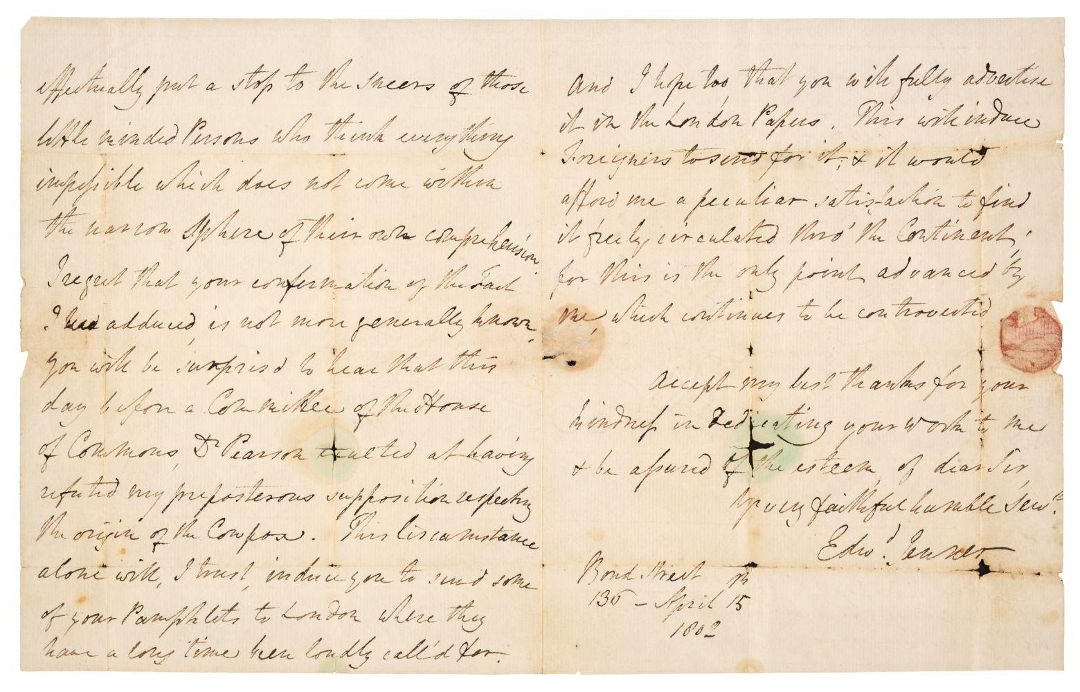 Carta de 1802 do pai da vacina é leiloada por 7 mil libras no Reino Unido (Foto: Printed Books, Maps & Decorative Prints, Autographs, Documents, The Donald & Monique King Collection)