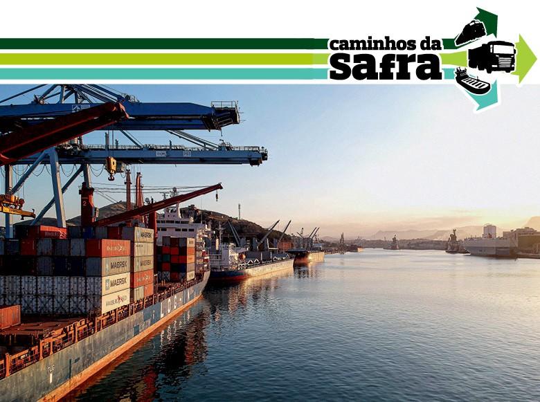 Navio carregado com contêineres no Porto de Vitória (Foto: Emiliano Capozoli)