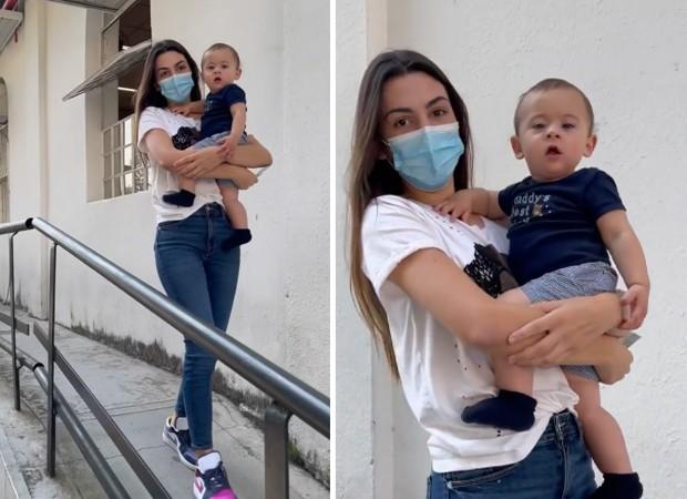 Pétala Barreiros leva fiilho caçula, Lucas, de 9 meses, para exame de DNA (Foto: Reprodução/ Instagram)