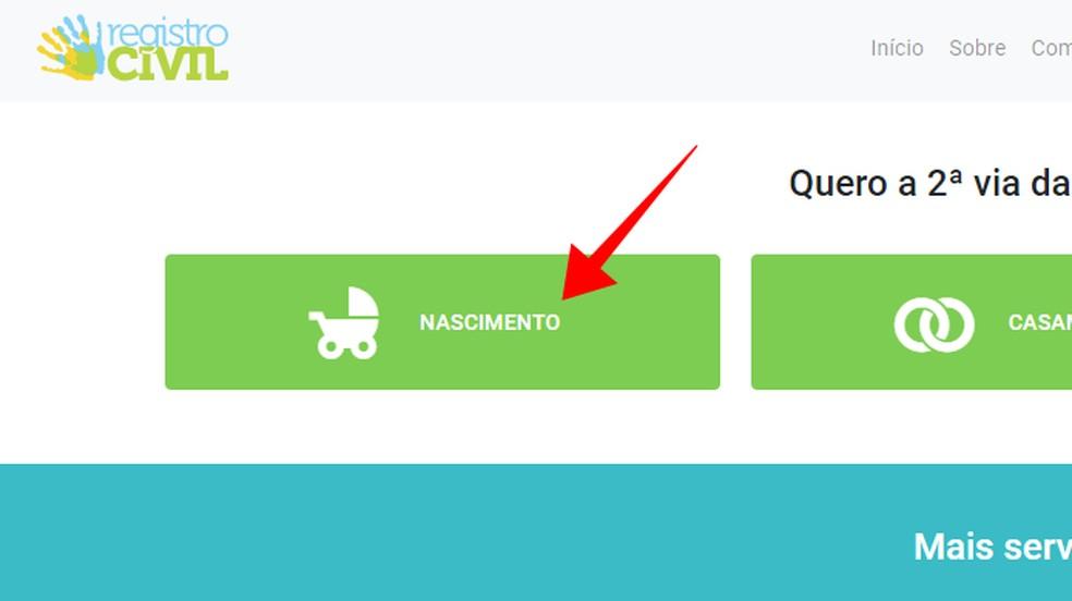 Acesse a solicitação do documento de nascimento no site Registro Civil — Foto: Reprodução/Paulo Alves