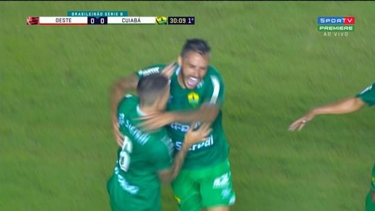 Goleiro do Oeste tenta adivinhar canto e leva golaço do Cuiabá em jogo da Série B; vídeo