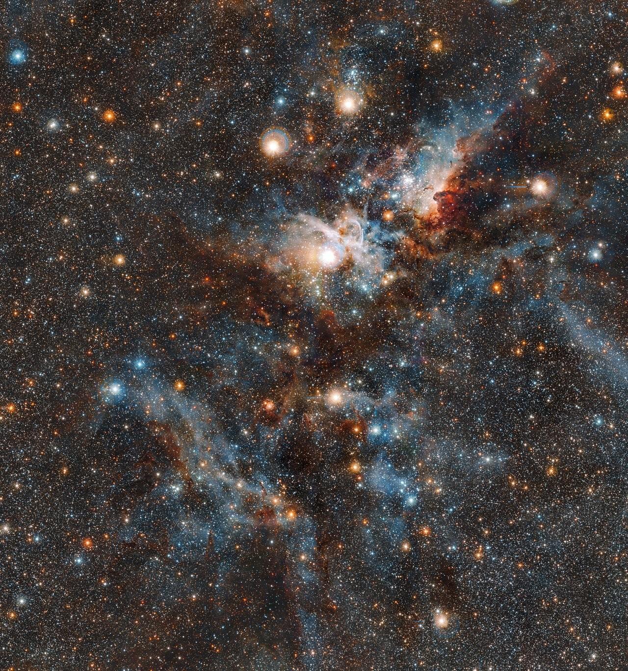 Nebulosa Carina em luz infravermelha (Foto: ESO)