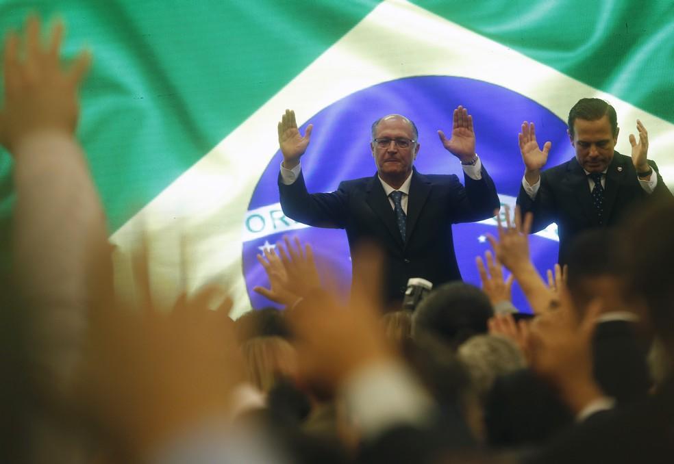 Alckmin e Doria na Expo Cristã (Foto: Leonardo Benassatto/FramePhoto/Estadão Conteúdo)