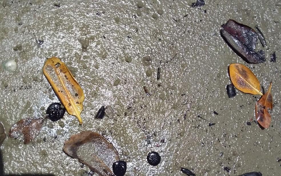 As manchas de óleo chegaram, nesta quinta-feira (17), no Povoado Castro, em Santa Luzia do Itanhy — Foto: Reprodução/TV Sergipe