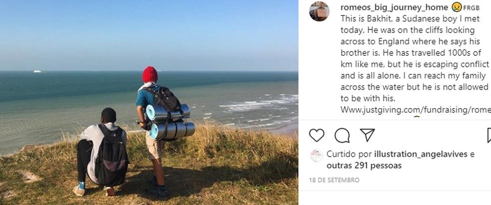 Cox utilizou as redes sociais para relatar as aventuras durante o trajeto — Foto: Reprodução/Instagram/romeos_big_journey_home