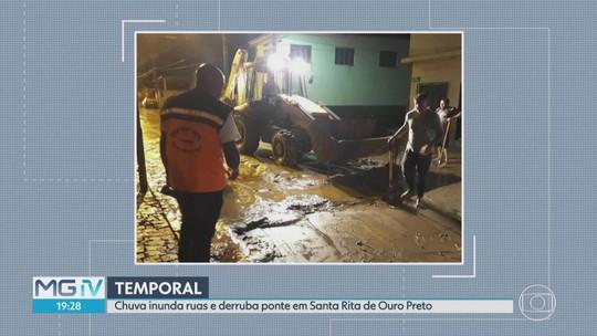 Chuva causa prejuízos e destrói ponte em distrito de Ouro Preto
