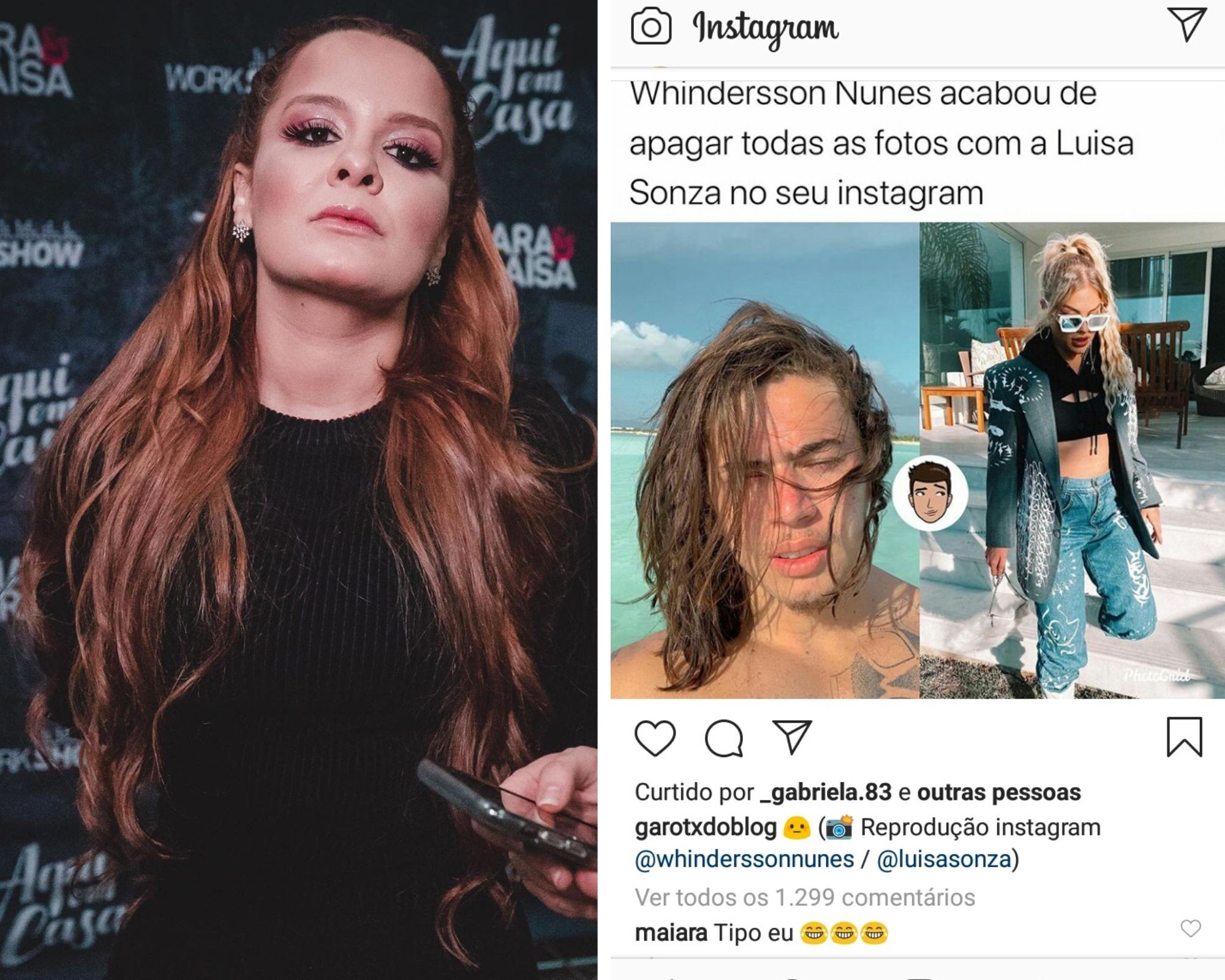 Maiara faz comentário em post sobre Whindersson Nunes e Luisa Sonza (Foto: Reprodução/Instagram)
