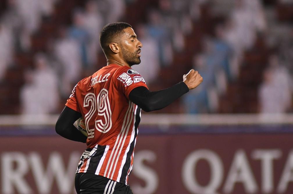 Tréllez comemora gol do São Paulo sobre a LDU — Foto:  Staff Images / CONMEBOL