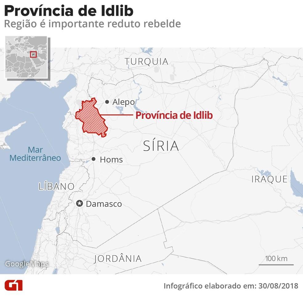 Mapa mostra localização da Província de Idlib, no norte da Síria — Foto: Infografia: Alexandre Mauro/G1