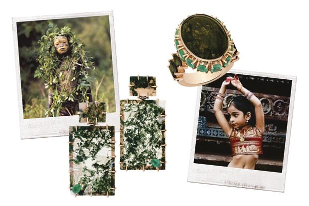 As imagens que inspiraram a designer ao lado das joias criadas (Foto: Divulgação)
