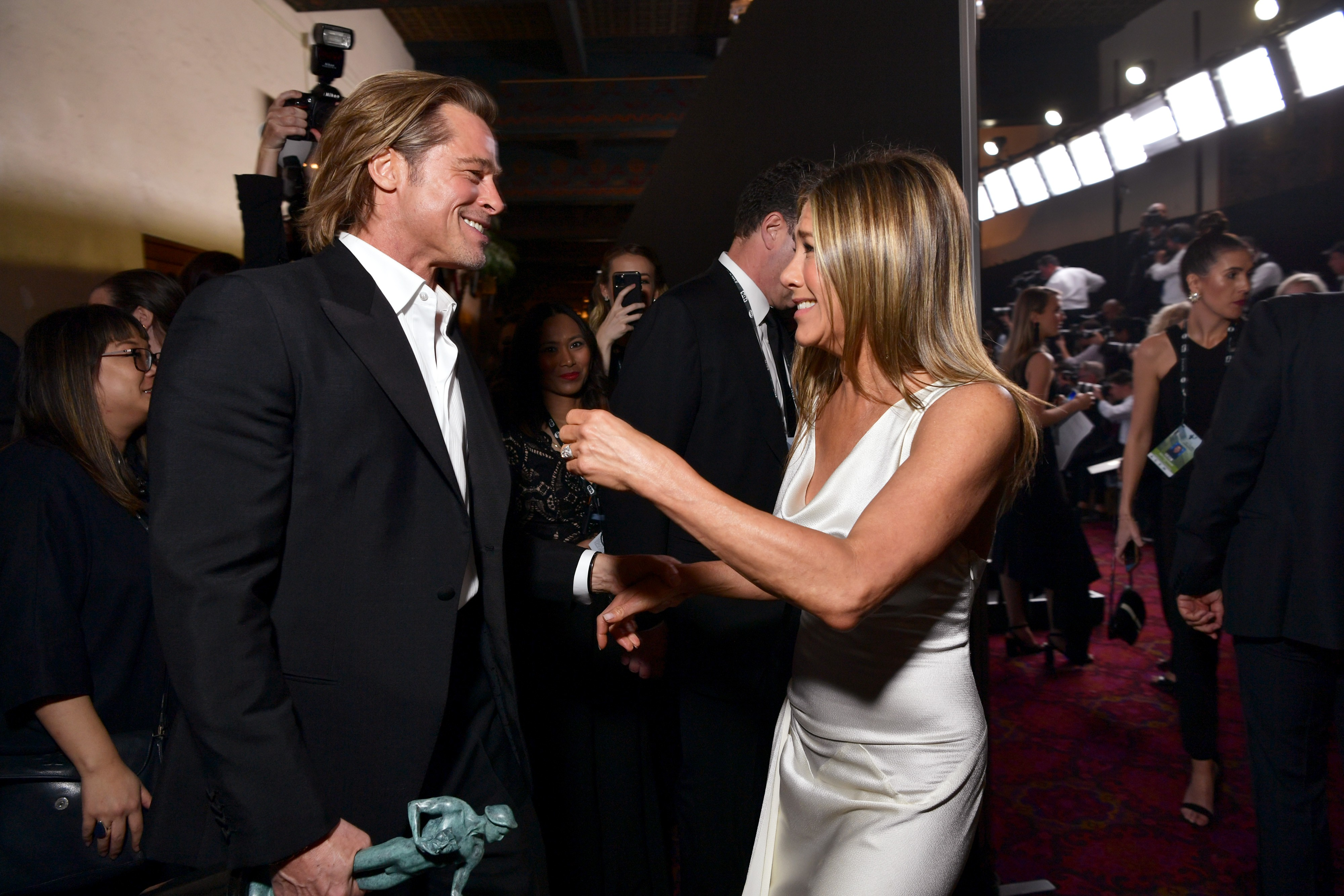 Brad Pitt and Jennifer Aniston met on the sidelines of the price of the trade-Union players (picture: Getty Images)