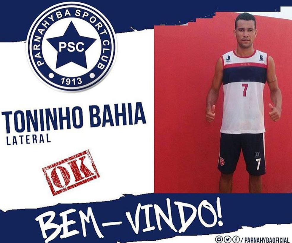 Toninho Bahia é o novo reforço do Azulino  (Foto: Divulgação/Parnahyba )