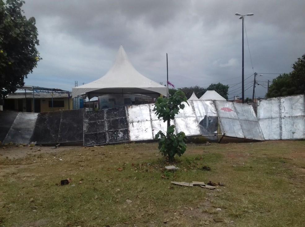 Local de festa onde ocorreu atentado no bairro Soledade 2, Zona Norte de Natal (Foto: Ediana Miralha/ Inter TV Cabugi)