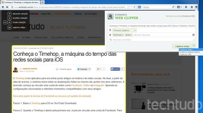 Web Clipper seleciona páginas da Internet e envia para o Evernote (Foto: Reprodução/Barbara Mannara)