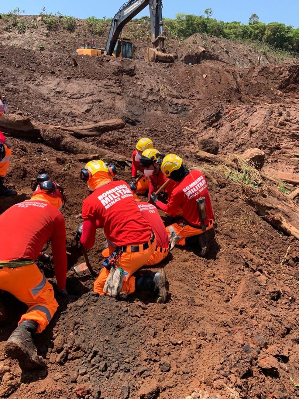 Local onde corpo foi encontrado em Brumadinho, dois anos e oito meses após tragédia da Vale. — Foto: Corpo de Bombeiros / Divulgação
