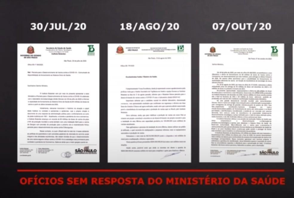 Butantan apresenta ofícios enviados ao Ministério da Saúde oferecendo doses da CoronaVac em 2020 — Foto: Reprodução/YouTube/Governo de São Paulo