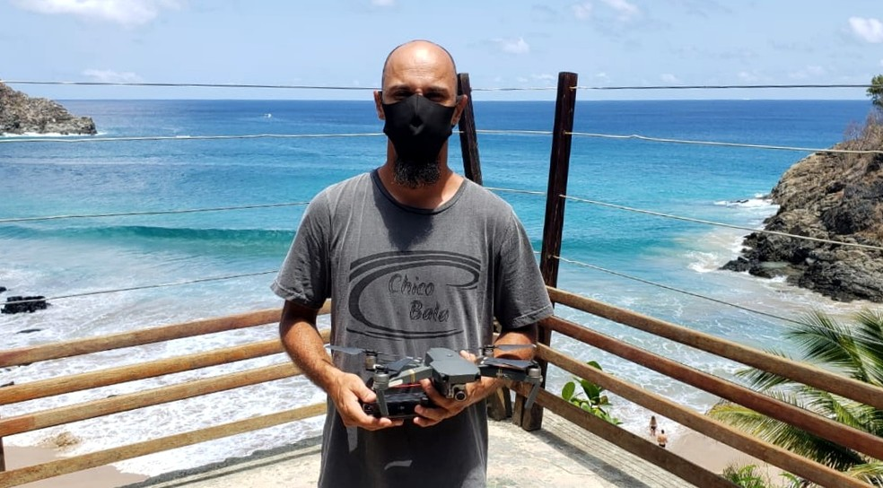 Chico Bala realiza buscas com o apoio de um drone — Foto: Ana Clara Marinho/TV Globo
