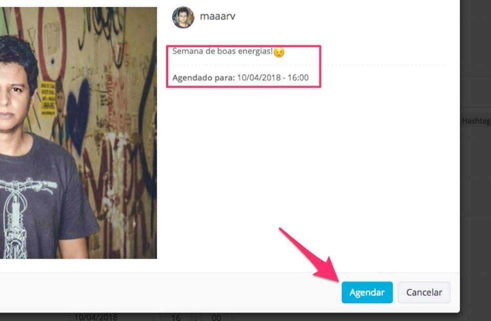 e74ff526ae ... Ação para agendar um post do Instagram com o serviço online Postgrain  (Foto: Reprodução