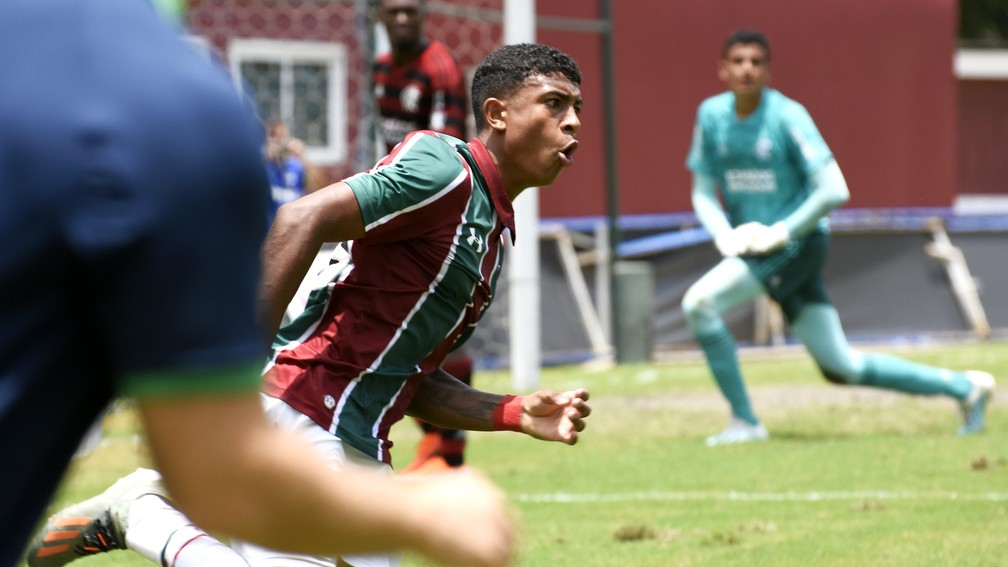 John Kennedy, em vitória do Fluminense sobre o Flamengo no Sub-17 em 2019 — Foto: Mailson Santana / FFC