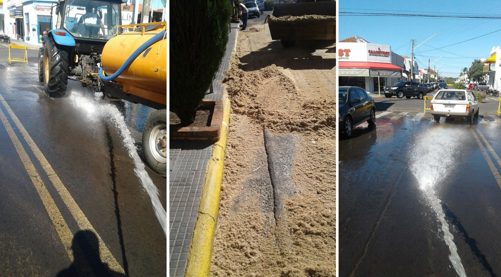 Máquina gigante é retirada da frente de banco e prefeitura usa pó-de-serra para limpar rua em Duartina — Foto: Prefeitura de Duartina/Divulgação
