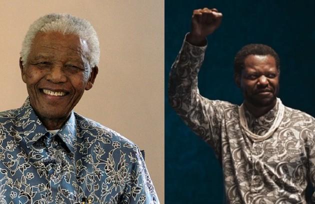 Bukassa Kabengele caracterizado como Nelson Mandela, que foi presidente da África do Sul e lutou pelo fim do apartheid (Foto: Siphiwe Sibeko/Reuters e Globo)