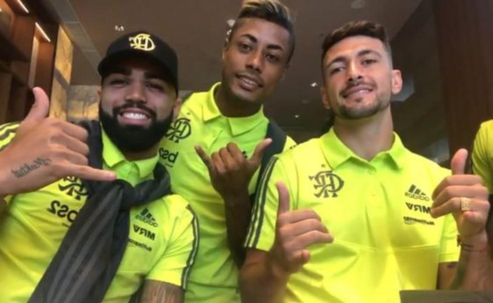 Gabriel, Bruno Henrique e Arrascaeta somam 42 gols no Brasileirão — Foto: Divulgação
