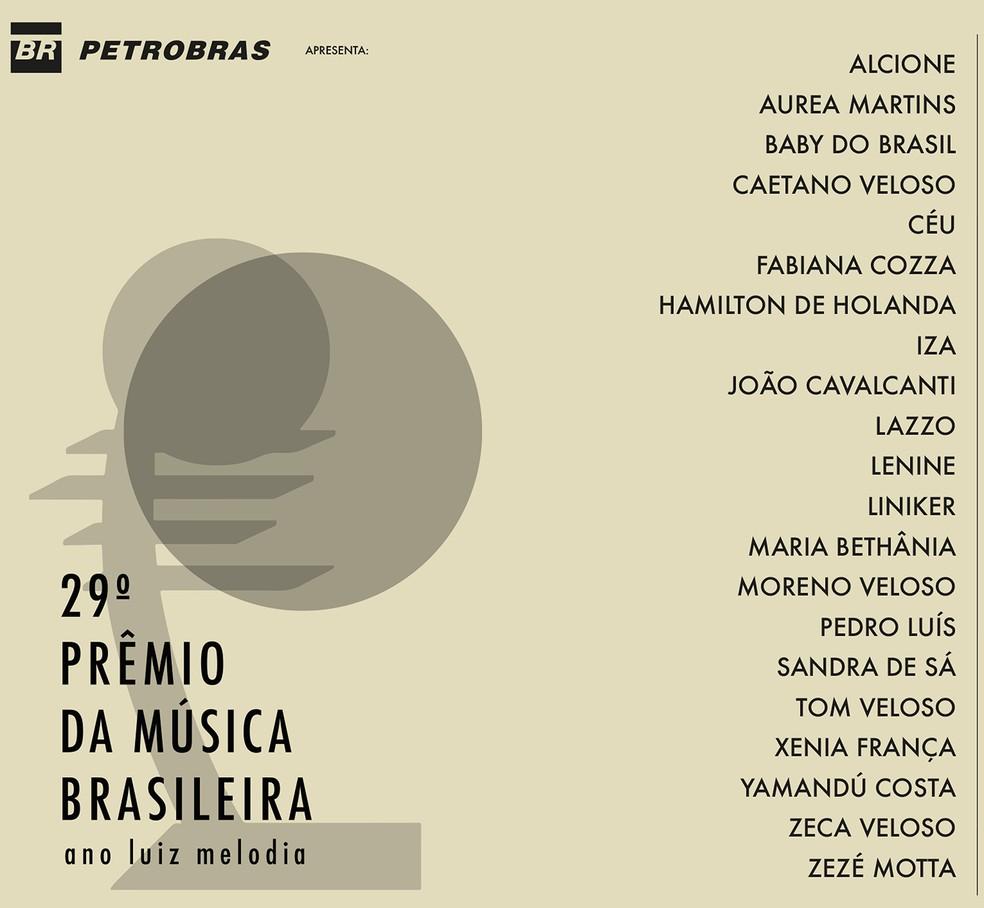Capa do CD '29º Prêmio da Música Brasileira – Ano Luiz Melodia' — Foto: Divulgação