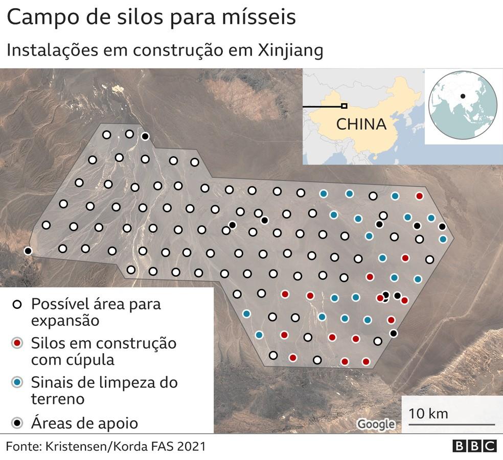Campo de silos para mísseis — Foto: BBC