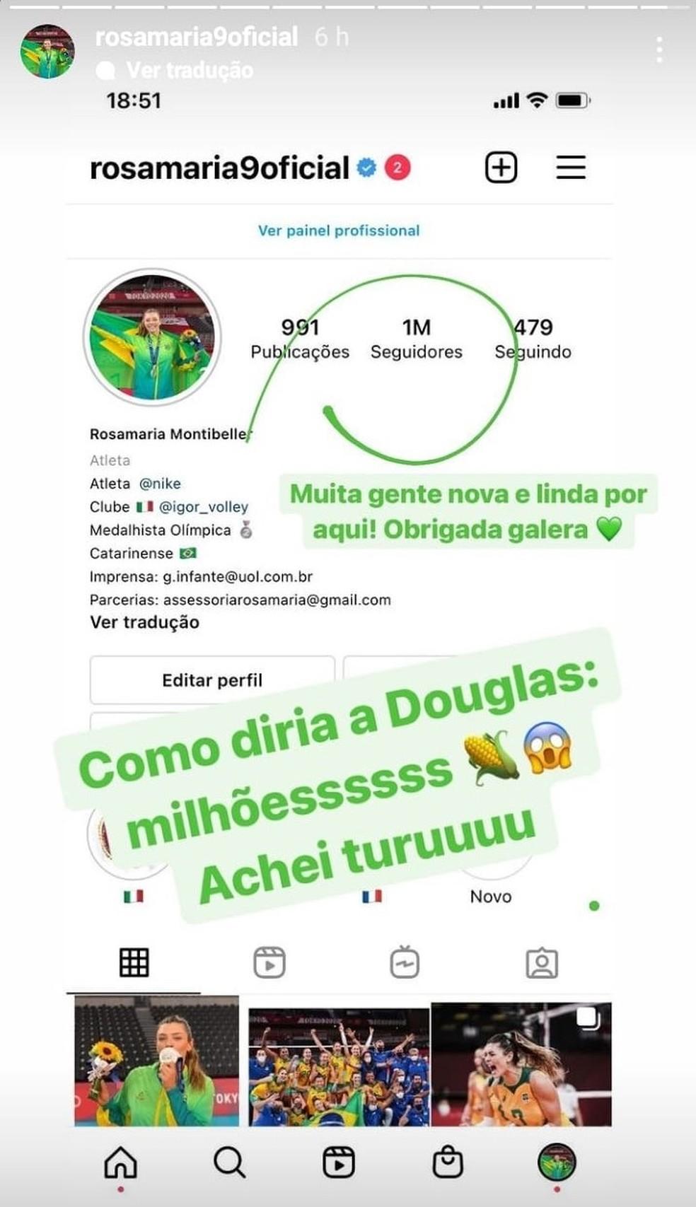 Rosamaria comemora marca de 1 milhão de seguidores nas redes sociais  — Foto: Reprodução/Redes sociais