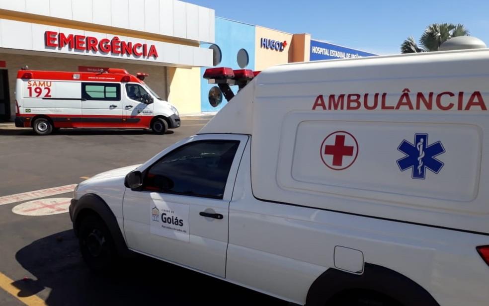 Menina recebeu primeiros socorros em Cais e depois foi trasnferida para o Hugol; quadro é grave (Foto: Guilherme Mendes/TV Anhanguera)