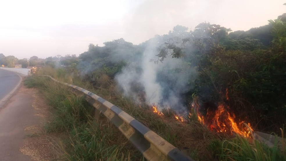 Três ocupantes do veículo foram carbonizados pelas chamas que se espalharam pela vegetação (Foto: PRF/Divulgação)