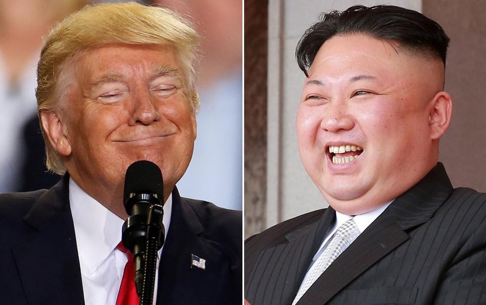 O presidente dos EUA, Donald Trump, e o líder norte-coreano, Kim Jong-un (Foto: Carlo Allegri/Reuters; KCNA/via Reuters)